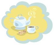 Tea set. Colored illustration. EPS 10.0. RGB. Illustration can be used as template for cafe, restaurants, food bar. Also can be use as template for menu or Royalty Free Stock Image