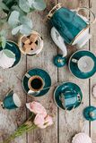 Tea set in composition royalty free stock photography