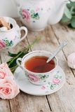 Tea set in composition Royalty Free Stock Image