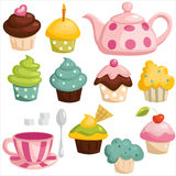 Tea set and cupcakes. Vector illustration Royalty Free Stock Image