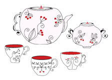 Tea set with cups Royalty Free Stock Image