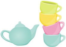 Tea set - cups and teapot Stock Image