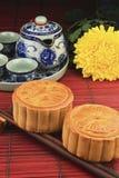 Tea set with delicious mooncakes. Royalty Free Stock Photos