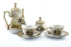 Tea set. Eastern culture patterns. White background isolated cup vintage antique coffee porcelain crockery service pot ornament kitchen teapot kitchenware gold stock photography