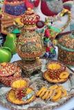 Tea set of fabric Royalty Free Stock Image