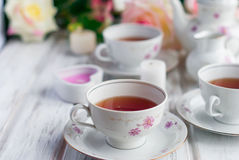 Tea set with floral print Royalty Free Stock Photography