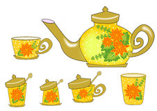 Tea set flower Stock Photos