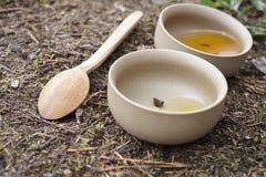 Tea set on the ground Stock Photo