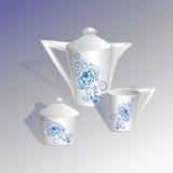 Tea set. Gzhel. Royalty Free Stock Photo
