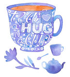 Tea set. Hand drawn tea time elements - cup, spoon, teapot. Stock Image