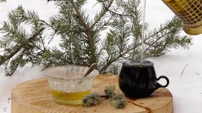 Tea set with honey: pouring hot tea from transparent teapot to black cup on a wooden stand among the snow.  stock video footage