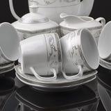 Tea set isolated. On black background Stock Image
