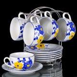 Tea set isolated. On black background Royalty Free Stock Photography