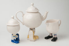 Tea set with legs Stock Photo