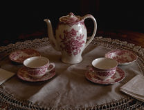 Tea set in morning light. Tea set lit by light coming in window at the right side Stock Photos