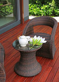 Tea set on rattan Furniture stock photography