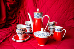 Tea set. On a red background Stock Photo