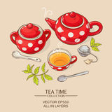 Tea set red. Illustration with cup of tea, teapot and sugar bowl on brown background Royalty Free Stock Images