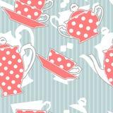 Tea set, seamless pattern stock photography