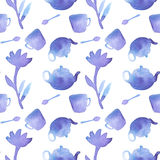 Tea set. Seamless pattern with teapot, spoon Stock Images