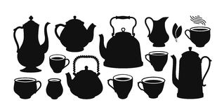 Tea set, silhouette. Kettle, teapot, cup, creamer icon or symbol. Vector illustration Royalty Free Stock Images