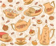 Tea set and sweet cakes. Royalty Free Stock Photos