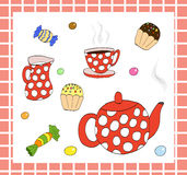 Tea set with sweets Royalty Free Stock Photography