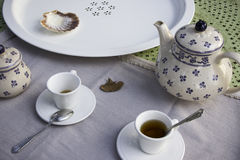 Tea set on a table. A moment after tea break Stock Photography