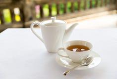 Tea-set on table at restaurant or teahouse Stock Photography