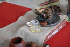 Tea set-The tea party in the shrine Stock Images