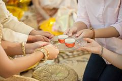 Tea set used in a Chinese wedding tea ceremony. Chinese wedding tea ceremony serving to elders.Chinese Tea ceremony is performed during a wedding or Chinese Royalty Free Stock Photo