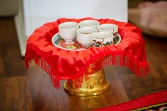 Tea set used in a Chinese wedding tea ceremony. Chinese wedding tea ceremony serving to elders. Chinese Tea ceremony is performed during a wedding or Chinese Royalty Free Stock Photos