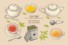 Tea set. Vector set  with cups,  teapot,  sugar bowl, tin packaging and tea strainer on color background Royalty Free Stock Photos