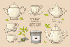Tea set. Vector set  with cups,  teapot,  sugar bowl, tin packaging and tea strainer on color background Stock Photos