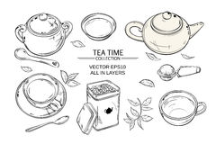 Tea set. Vector set  with cups,  teapot,  sugar bowl, tin packaging and tea strainer on white background Royalty Free Stock Photography