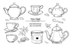 Tea set. Vector set  with cups,  teapot,  sugar bowl, tin packaging and tea strainer on white background Royalty Free Stock Photos