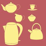 Tea set. Vector illustration. Isolated on red Royalty Free Stock Photography