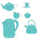 Tea set. Vector illustration. Isolated on white Stock Photos