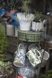 Tea set in the vintage shop window royalty free stock photos