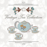 Tea set in vintage style Stock Images