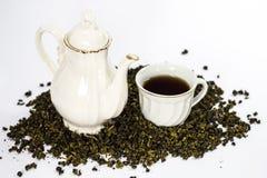 Tea set on white background Stock Images