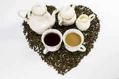Tea set on white background Royalty Free Stock Images