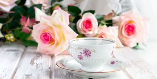 Tea Set With Floral Print Stock Photo