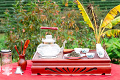 Tea set on a wooden plate Stock Image