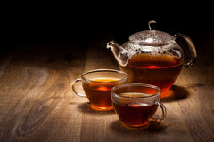 Tea Set on a Wooden Table Royalty Free Stock Images