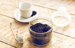 Tea set on the wooden table at sunny morning Stock Photography