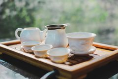 Tea set on the wooden table royalty free stock images