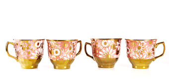 Tea sets close up isolated on white background.  royalty free stock photo