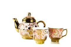 Tea sets close up isolated on white background.  stock photo