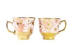 Tea sets close up isolated on white background. Tea cups close up isolated on white background stock images